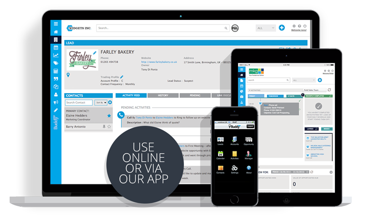 crm software shown on devices screenshots - buddycrm - the easy to use crm for sales teams