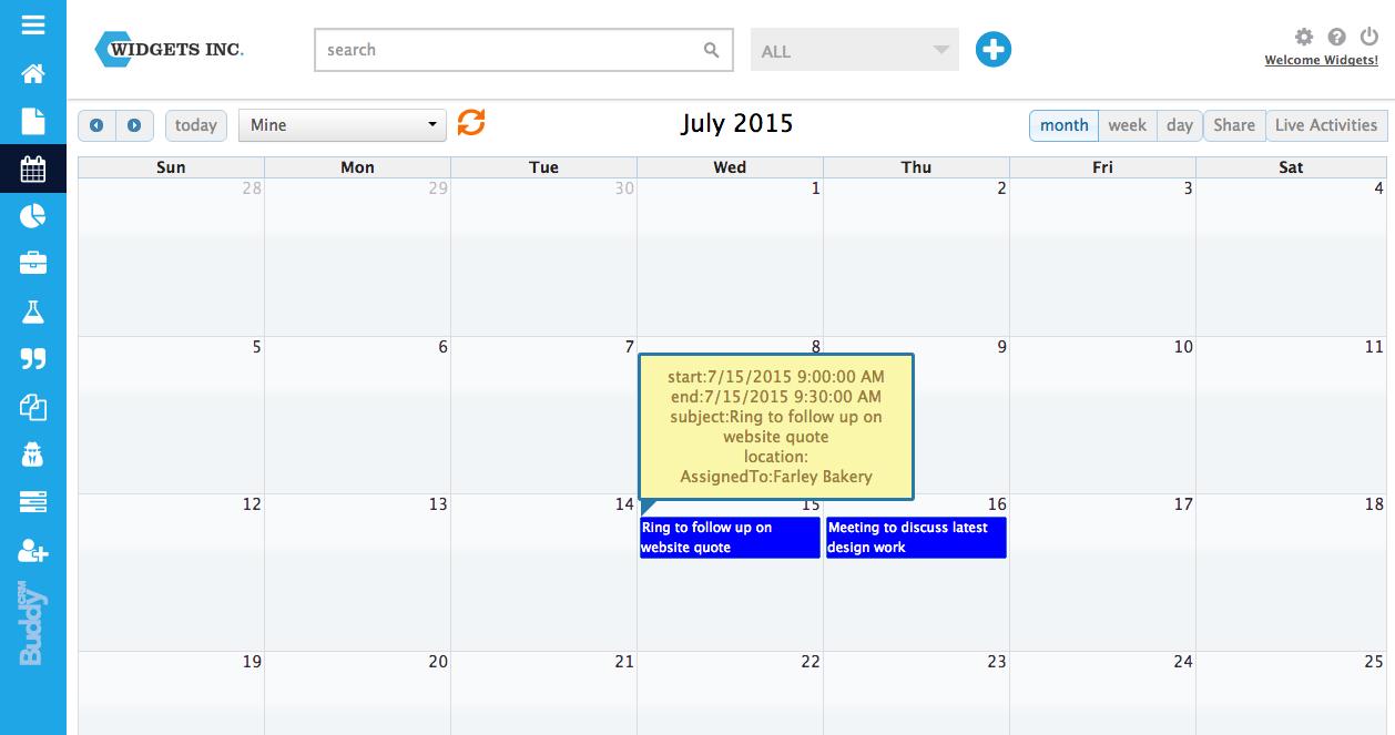 BuddyCRM calendar July popup
