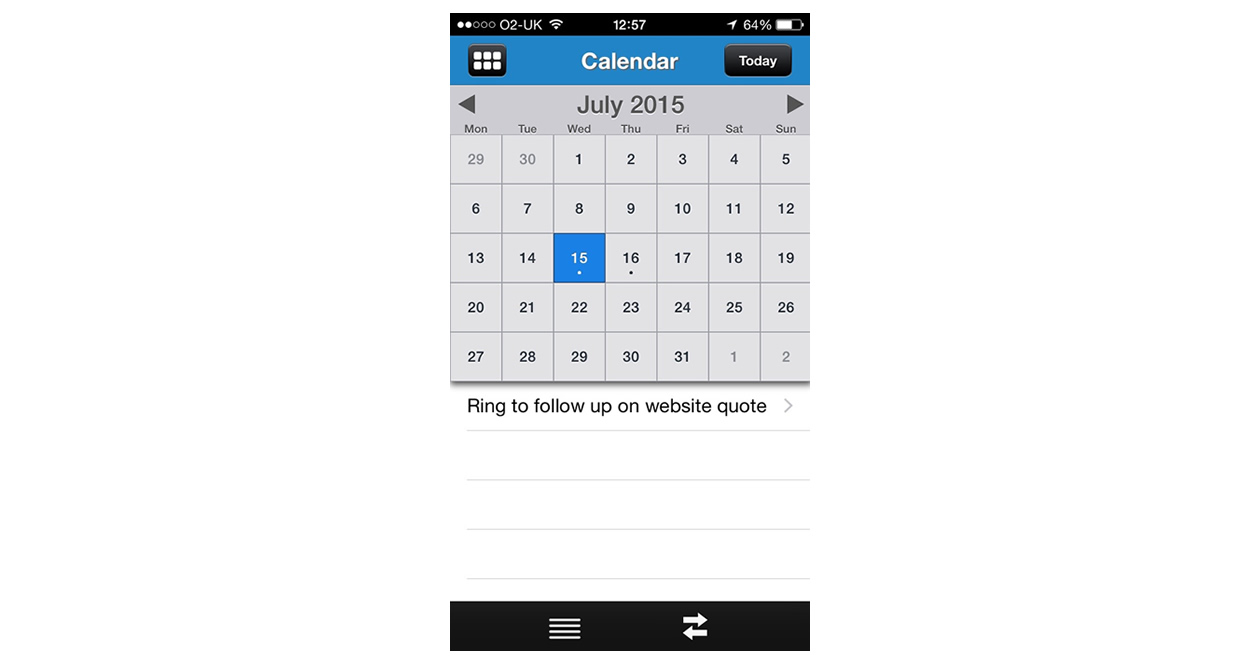 BuddyCRM calendar mobile