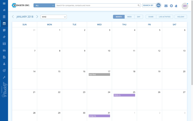 BuddyCRM calendar january screenshot