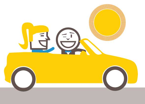 Choose a convertible car for your sales team - take the team down town for lunch