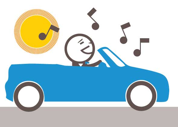 Choose a convertible car for your sales team - share your music with Everyone!