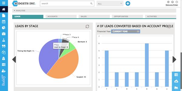 Analysis screen on BuddyCRM