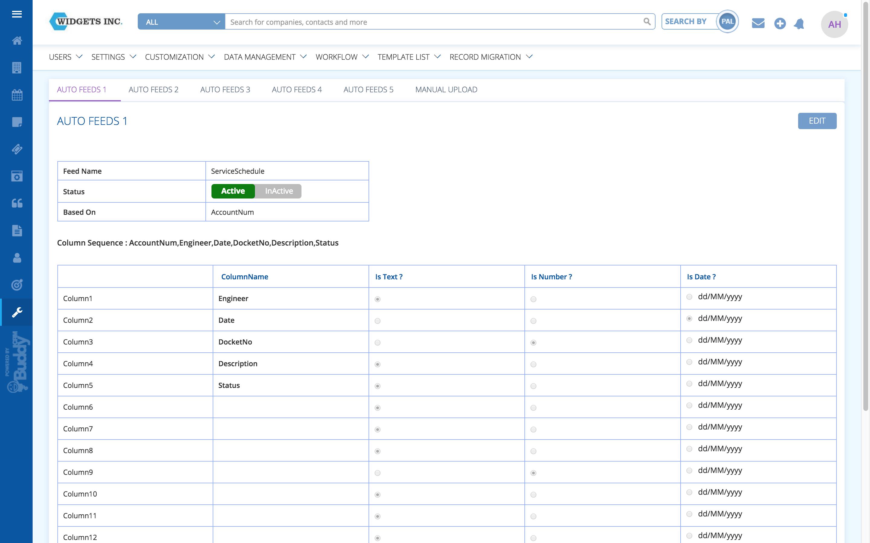 buddycrm integrations screenshot 1 - set up auto feeds from external sources