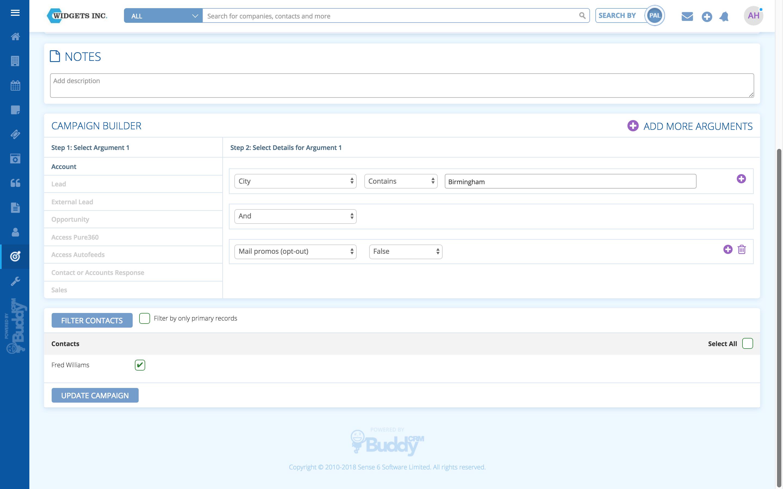 BuddyCRM create a marketing campaign screenshot