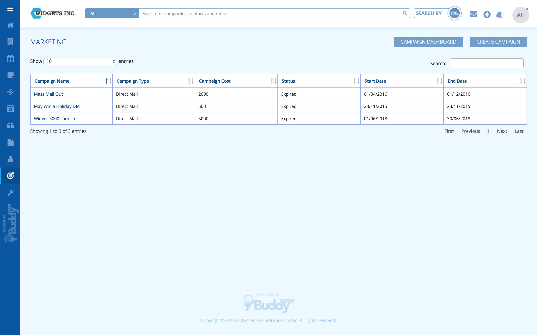BuddyCRM marketing campaigns dashboard