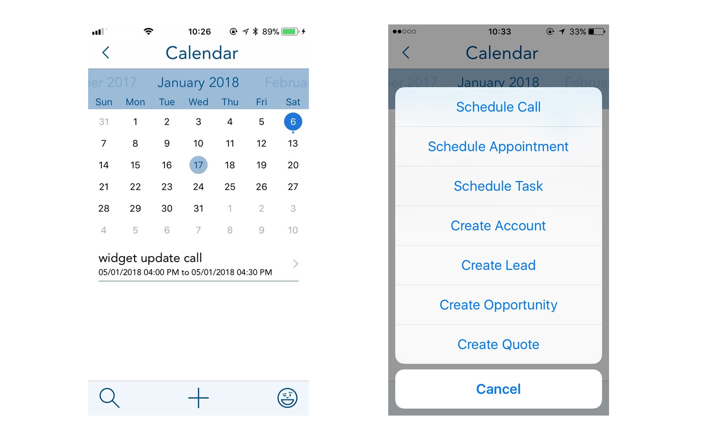 Calendar screenshots from BuddyCRM on ios app
