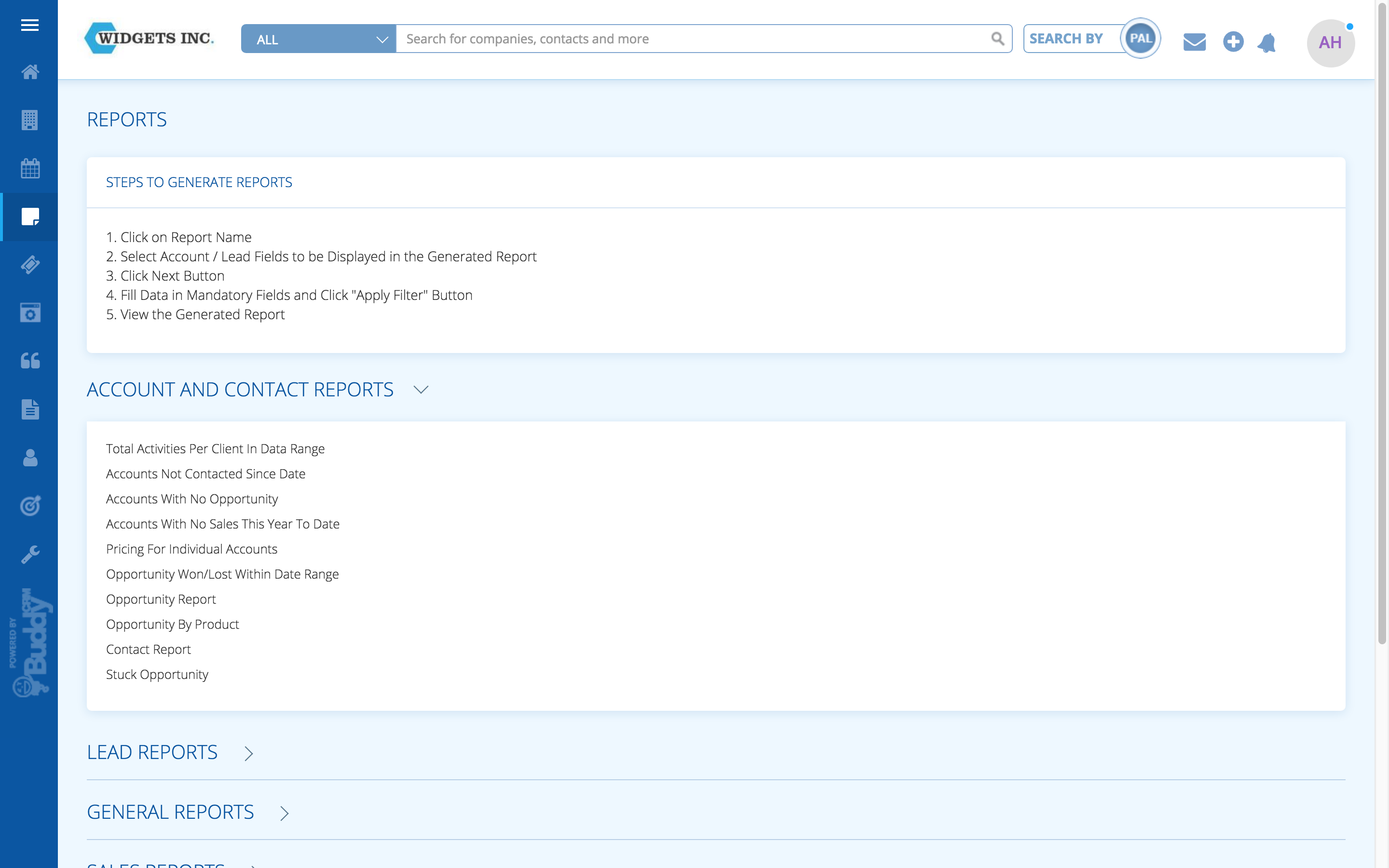 CRM reporting from Buddycrm