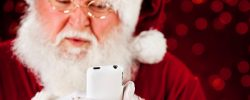 santa checks up his messages on BuddyCRM iphone app