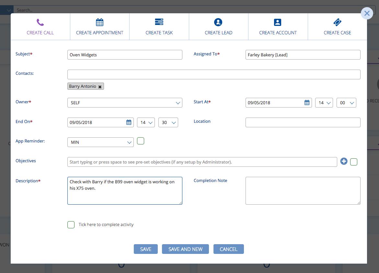Creating a call in BuddyCRM
