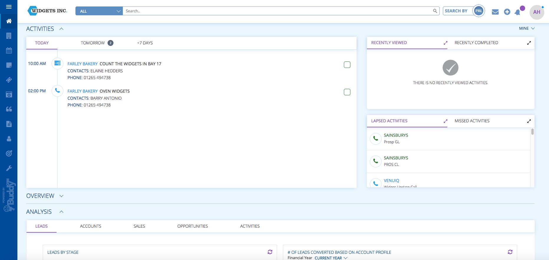 Dashboard home page on BuddyCRM