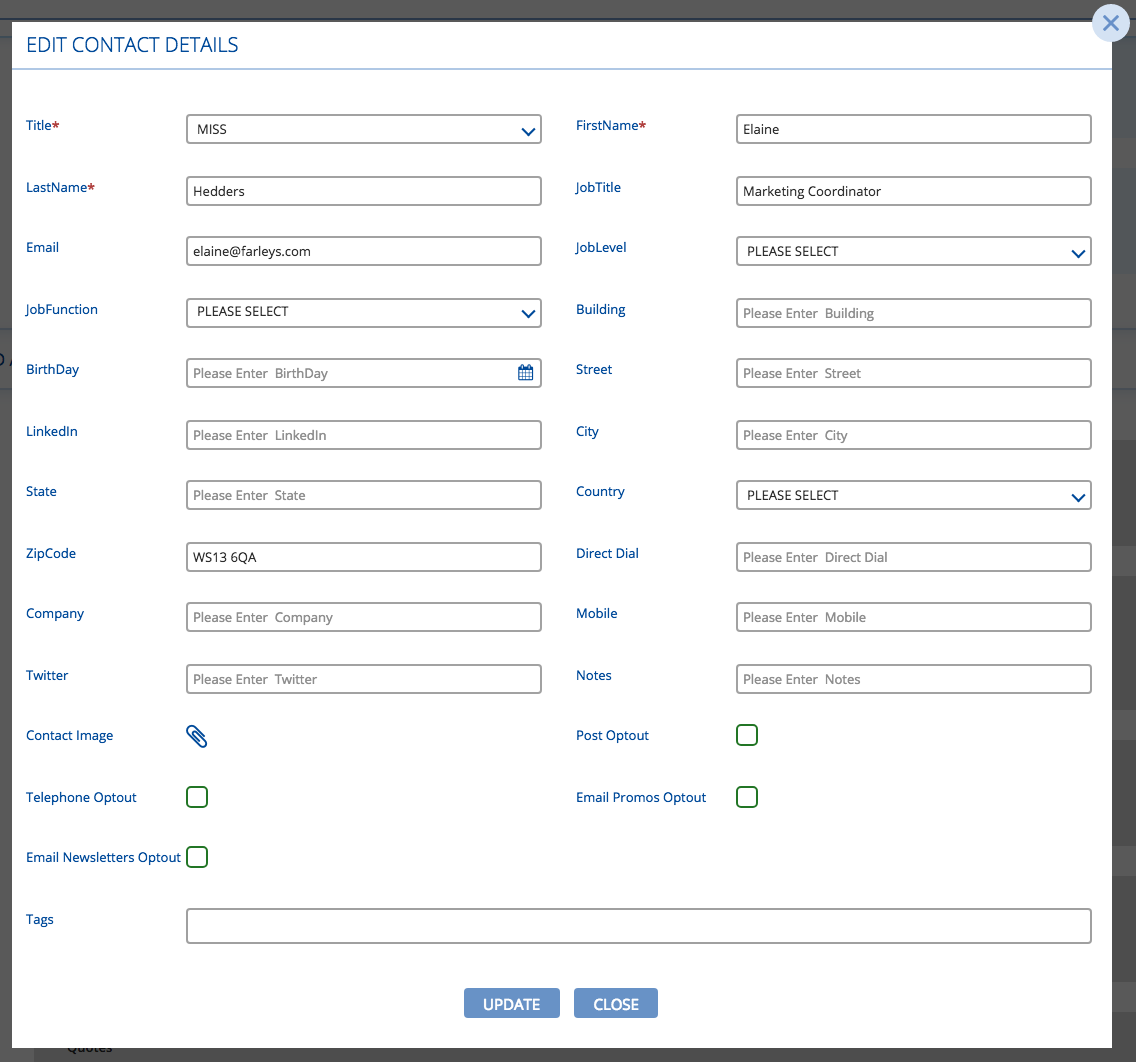 Edit details of a contact in BuddyCRM to comply with GDPR regulations