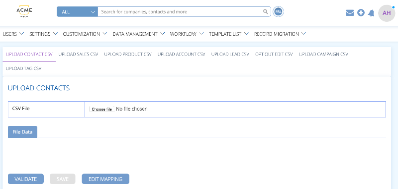 import data into BuddyCRM with the data management tool