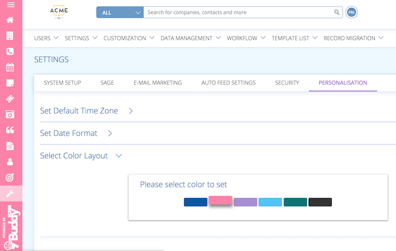 change the colour of your buddy bar in BuddyCRM with the personalisation setting