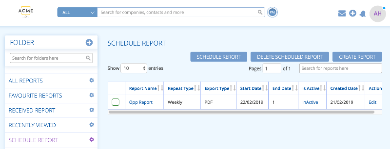 Schedule a report to send automatically on an agenda of your choice in BuddyCRM