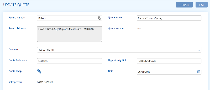 Update a quote in BuddyCRM iage