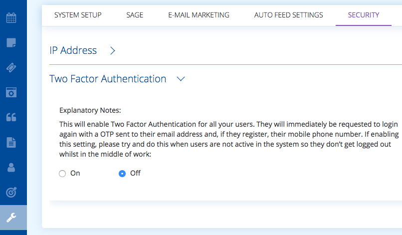 Two factor authentication for added security on BuddyCRM