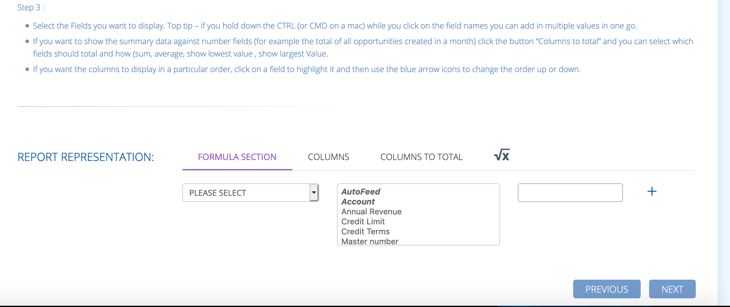 formulas in reports inside BuddyCRM