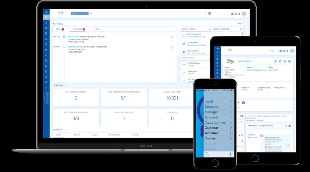 BuddyCRM shown on three devices, macbook, iphone, ipad - graphic